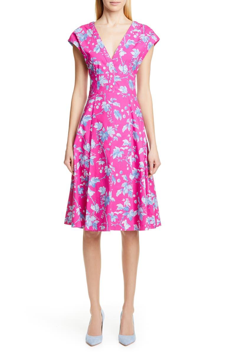 CAROLINA HERRERA Leaf Print Stretch Cotton Dress, Main, color, PINK MULTI