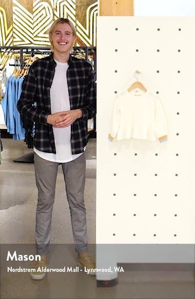 Kids' Stripe Cuff Peplum Cotton Blend Sweater, sales video thumbnail
