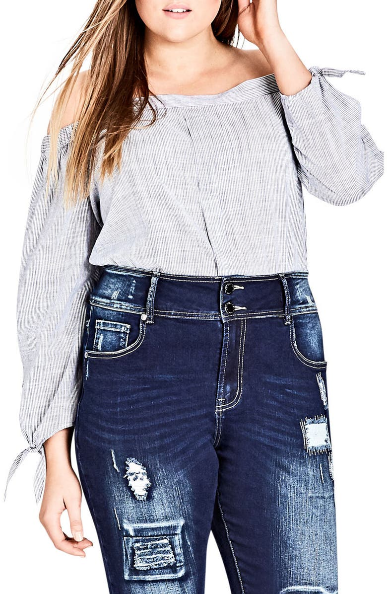 CITY CHIC Harley Patched Skinny Jeans, Main, color, DARK INDIGO