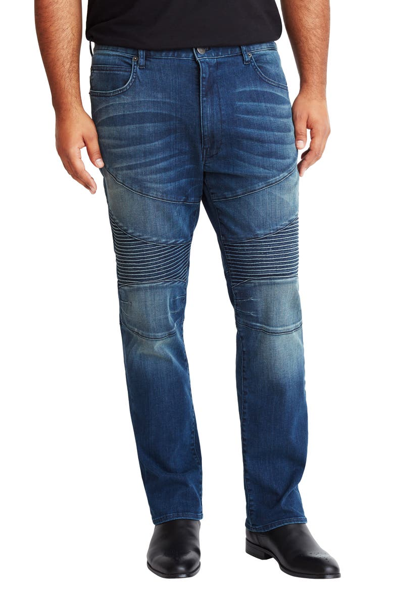 MVP COLLECTIONS Straight Leg Biker Jeans, Main, color, DARK INDIGO WASH