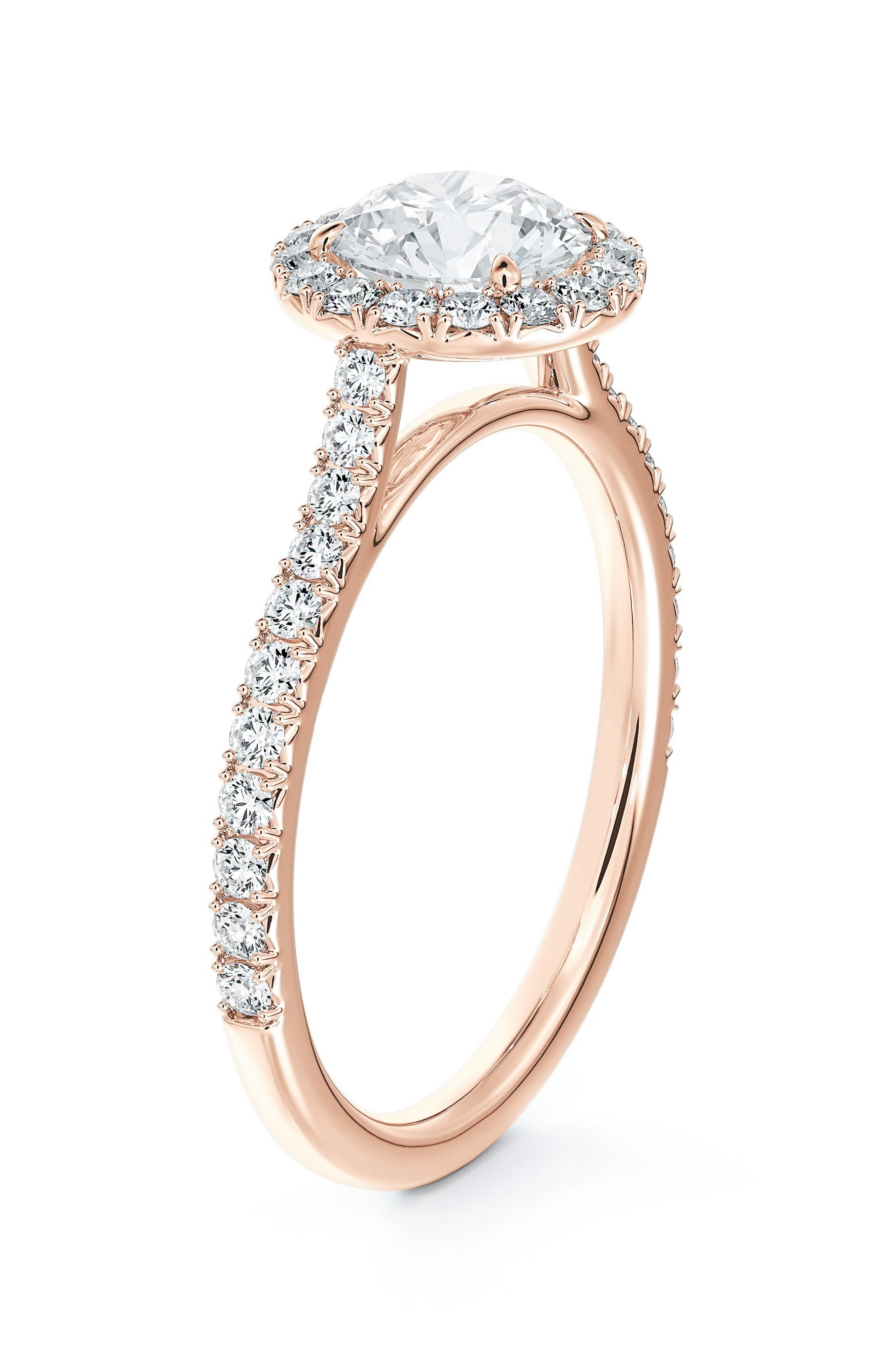 Center Of My Universe Round Halo Engagement Ring With Diamond Band