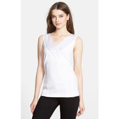 Petite Nic+Zoe Sweet Pleat Top, White