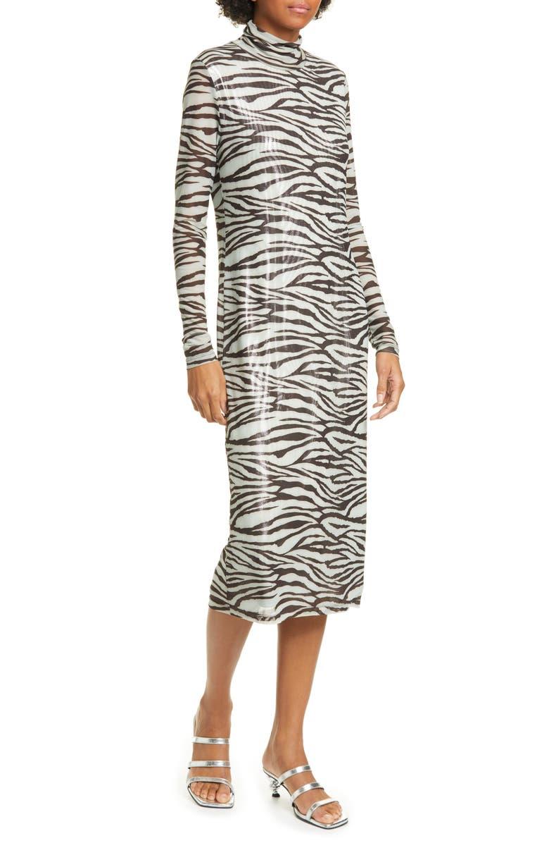 STAUD Brae Tiger Stripe Long Sleeve Midi Dress, Main, color, ZEBRA