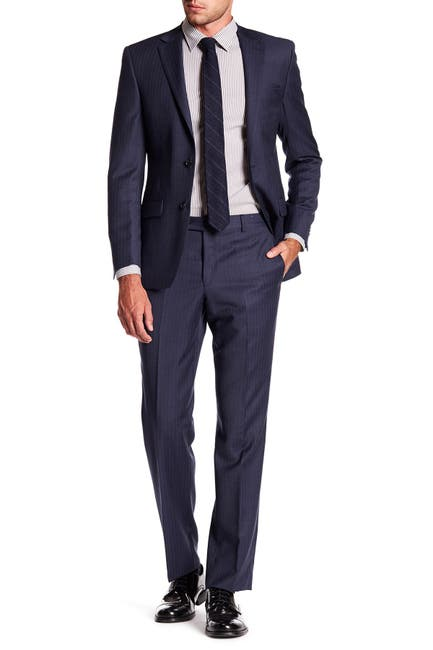 Image of Simon Spurr Navy Pinstripe Wool Two Button Notch Lapel Suit
