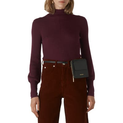 Whistles Ribbed Merino Wool Roll Neck Sweater, Burgundy