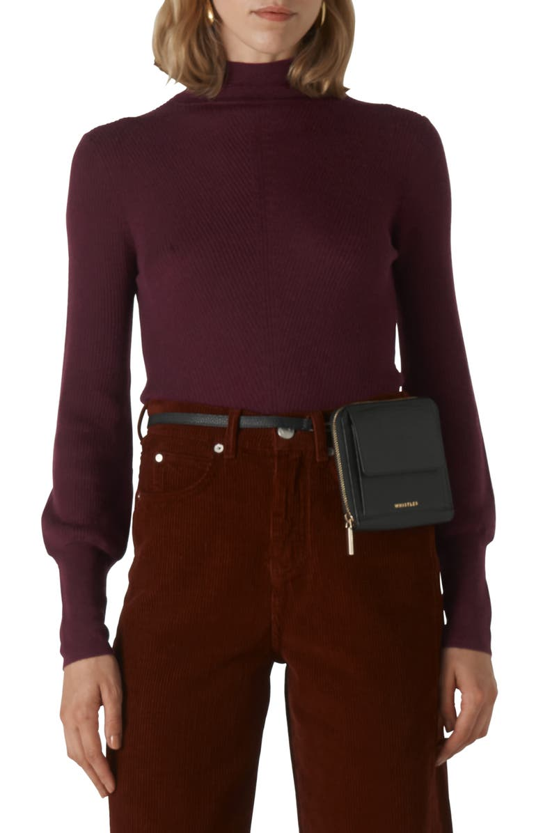 WHISTLES Ribbed Merino Wool Roll Neck Sweater, Main, color, BURGUNDY