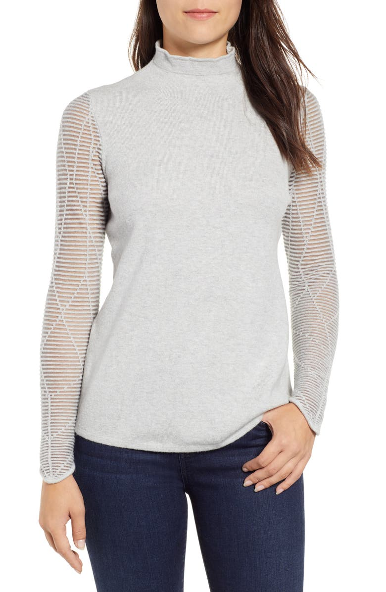NIC+ZOE Night Shift Top, Main, color, PALE GREY