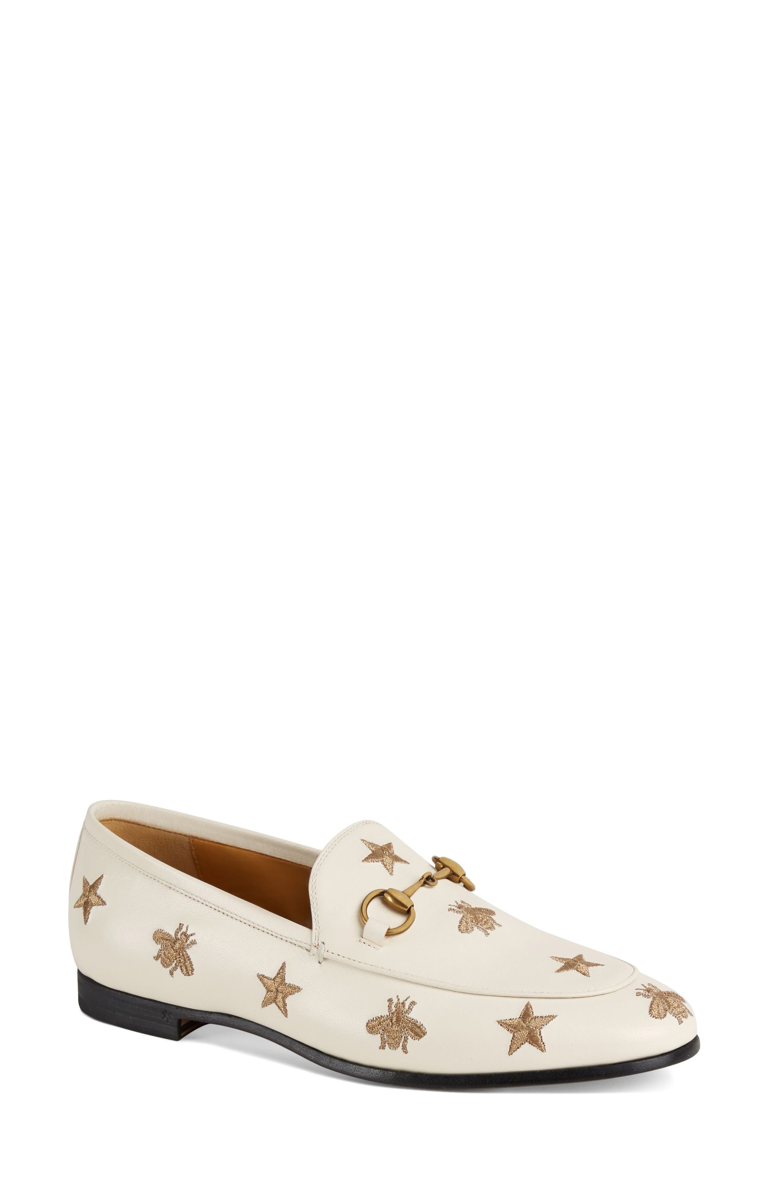 Gucci Jordaan Embroidered Bee Loafer, White