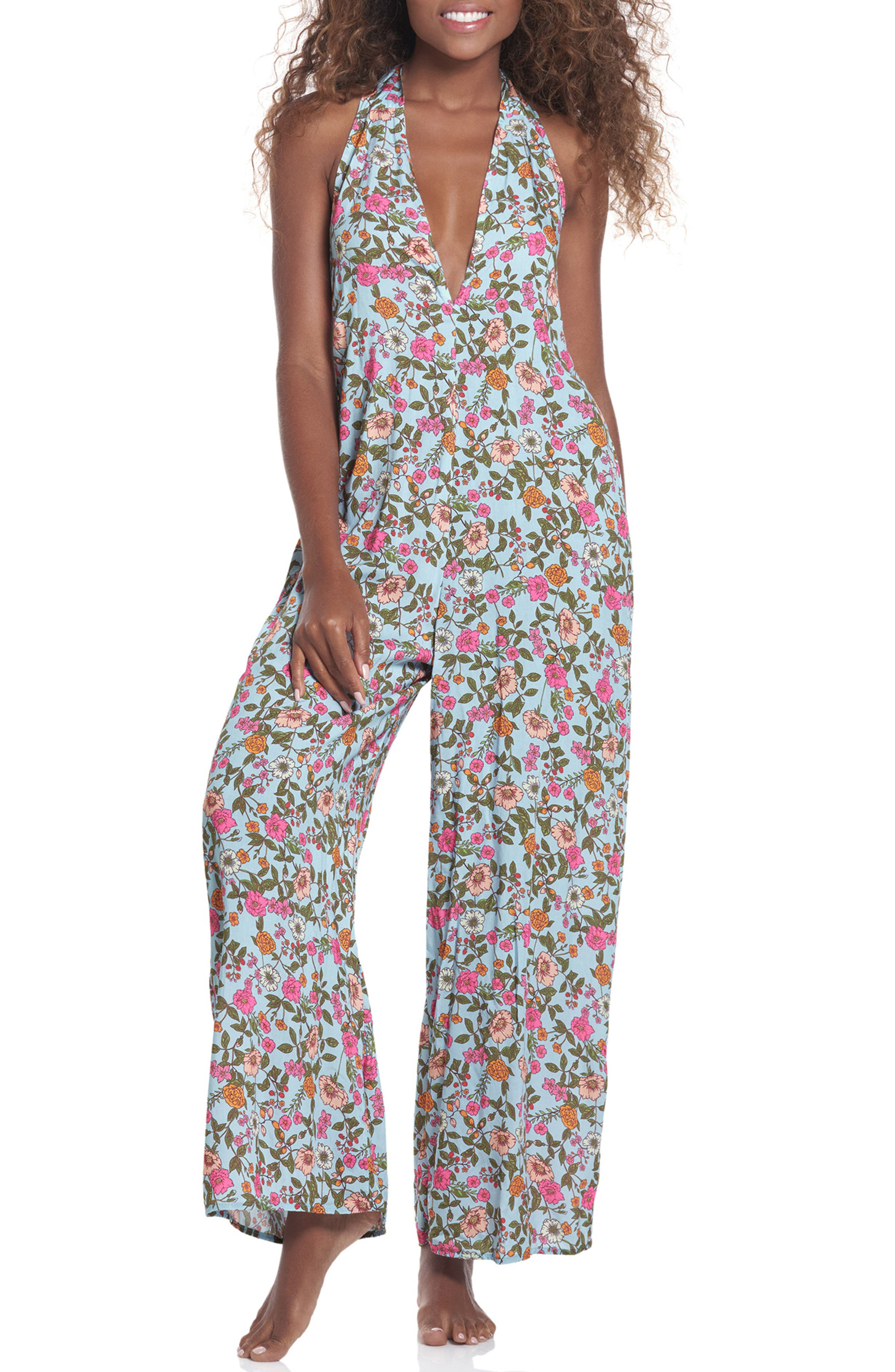 Dainty Begonia Floral Print Cover-Up Jumpsuit