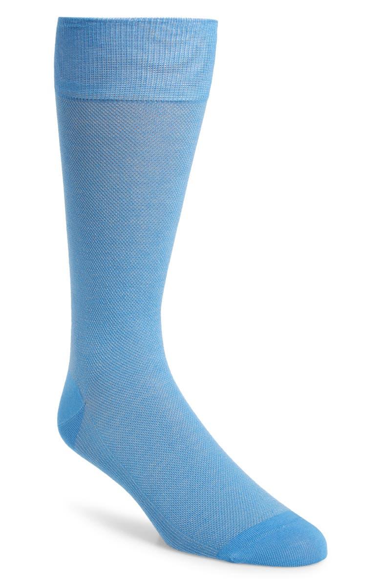 COLE HAAN Piqué Texture Crew Socks, Main, color, BLUE