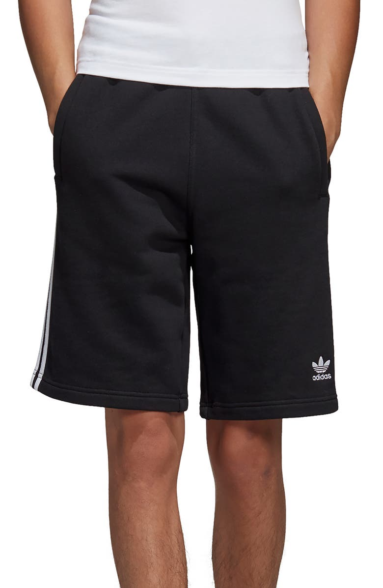 ADIDAS ORIGINALS 3-Stripes Athletic Shorts, Main, color, BLACK