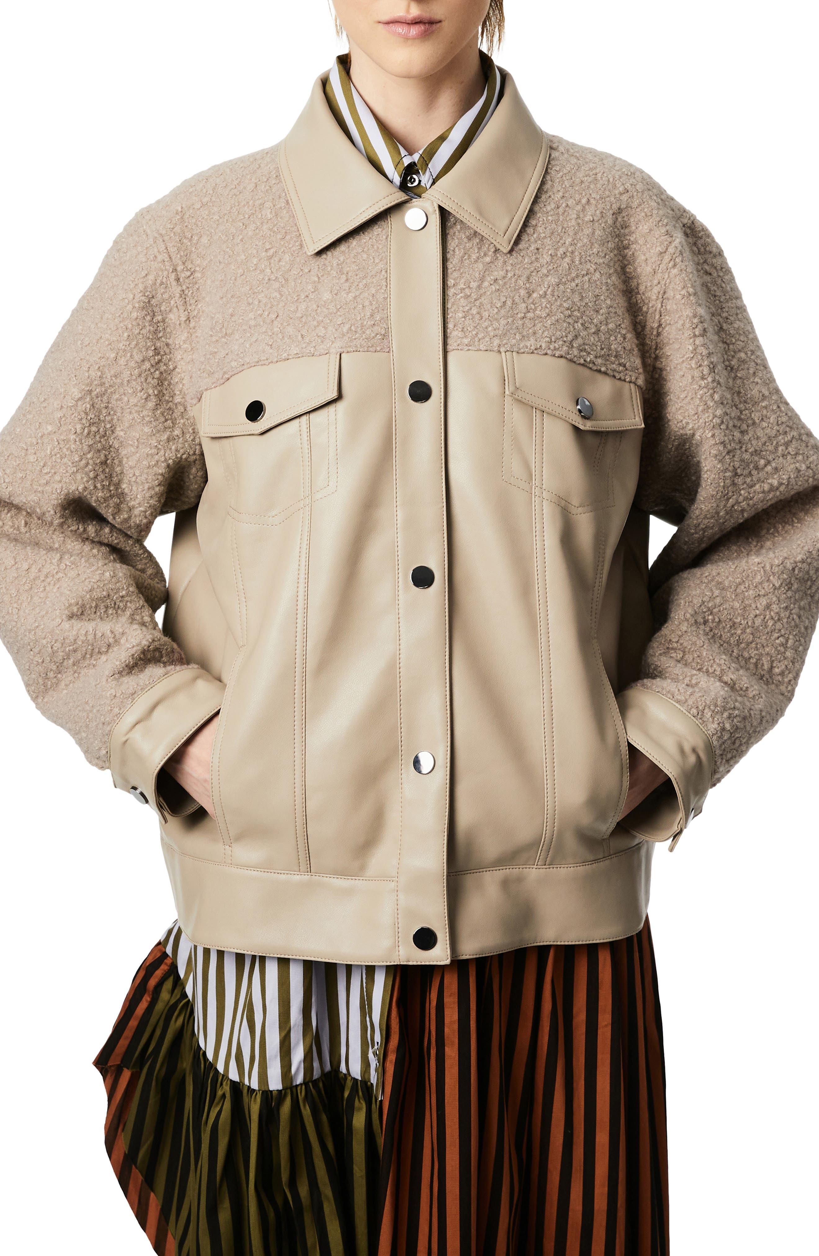 Faux Leather & Faux Shearling Trucker Jacket