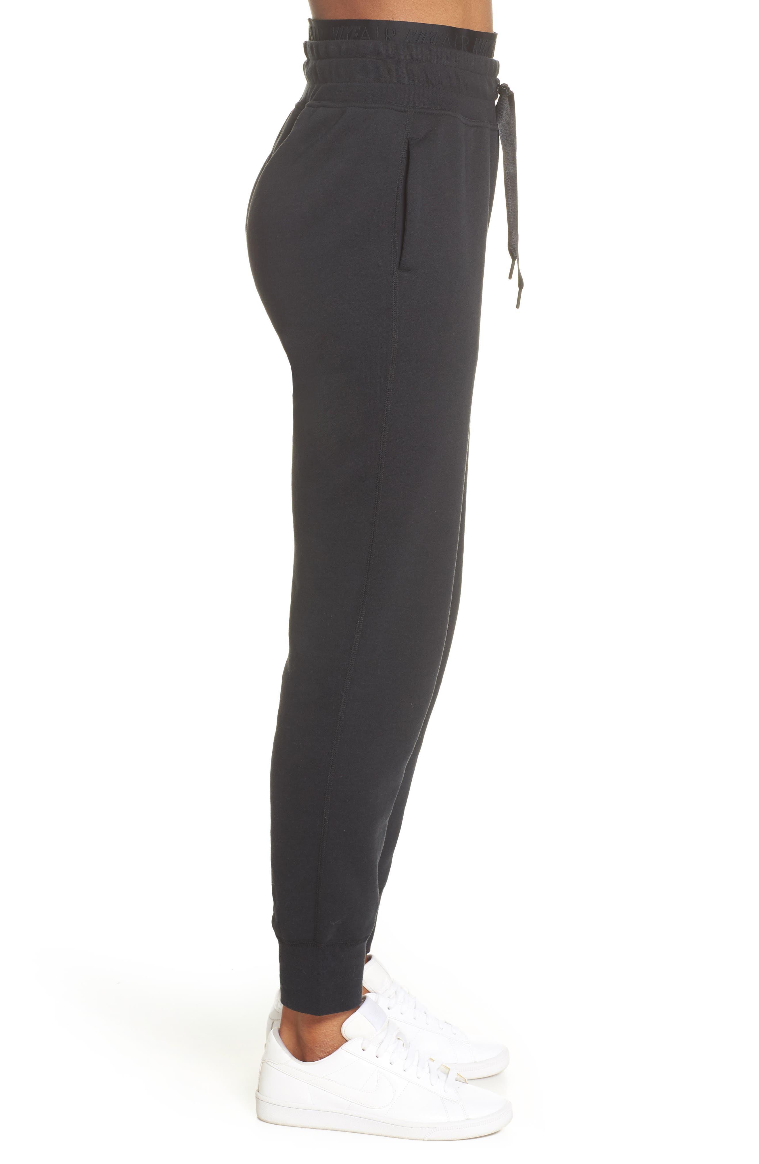 ,                             Sportswear Air Fleece Jogger Pants,                             Alternate thumbnail 6, color,                             BLACK/ WHITE