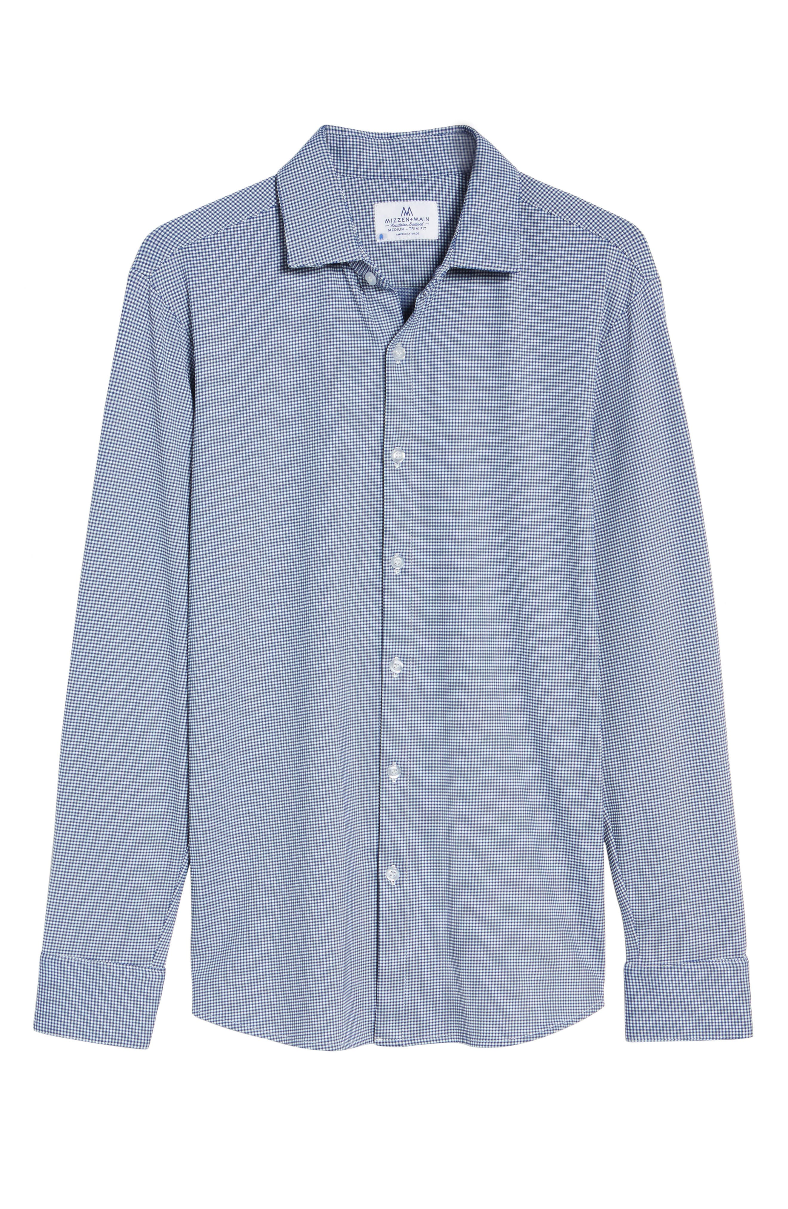 ,                             Beckett Trim Fit Gingham Sport Shirt,                             Alternate thumbnail 6, color,                             BLUE