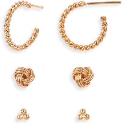 Sterling Forever Love Knot 3-Pack Hoop & Stud Earring Set