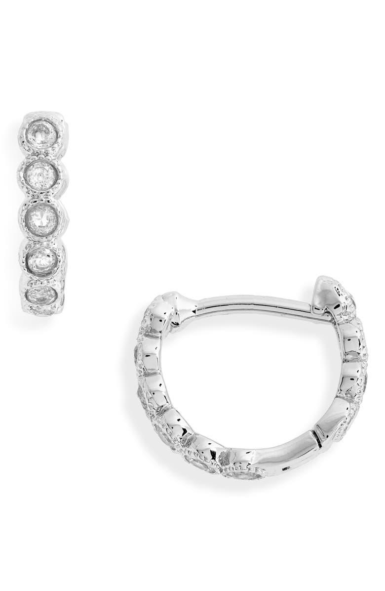GORJANA Madison Shimmer Huggie Hoop Earrings, Main, color, SILVER