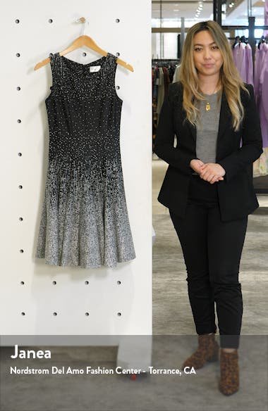 Ombré Dot Fit & Flare Sweater Dress, sales video thumbnail