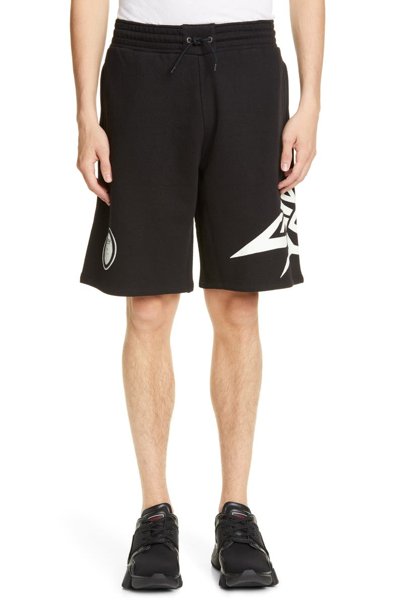 GIVENCHY Glow in the Dark Athletic Shorts, Main, color, BLACK