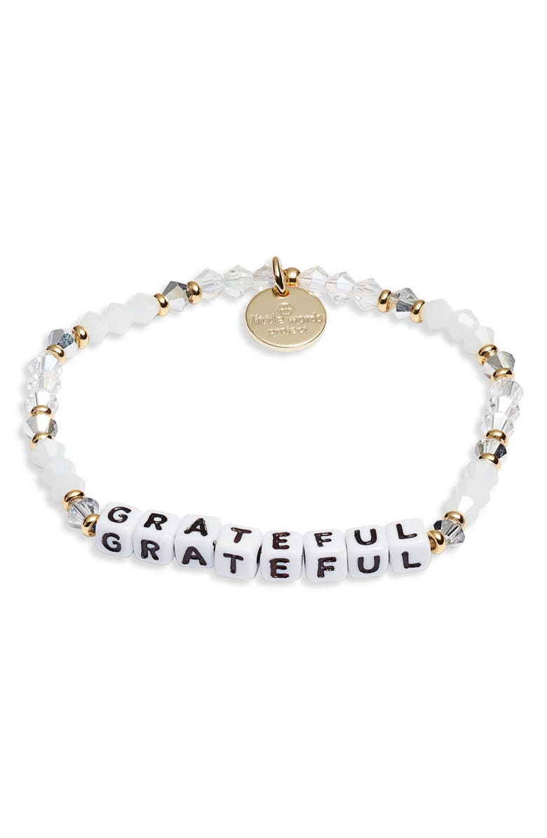 LITTLE WORDS PROJECT Grateful Beaded Stretch Bracelet, Main, color, EMPIRE WHIT/ SIL WHITE