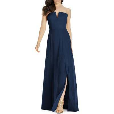 Dessy Collection Strapless Chiffon Evening Dress, Blue