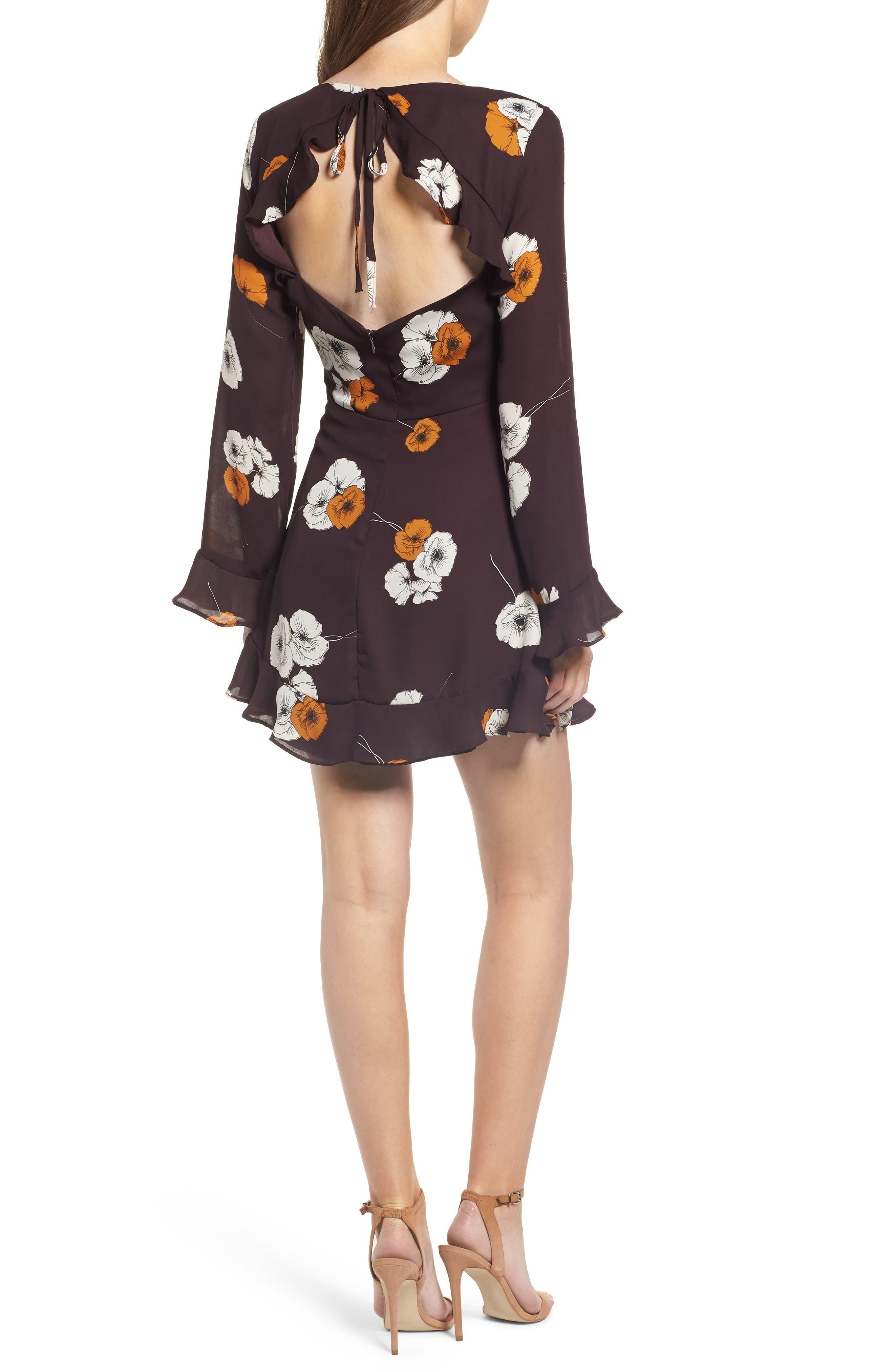 ,                             Leena Vintage Floral Dress,                             Alternate thumbnail 2, color,                             AUBERGINE