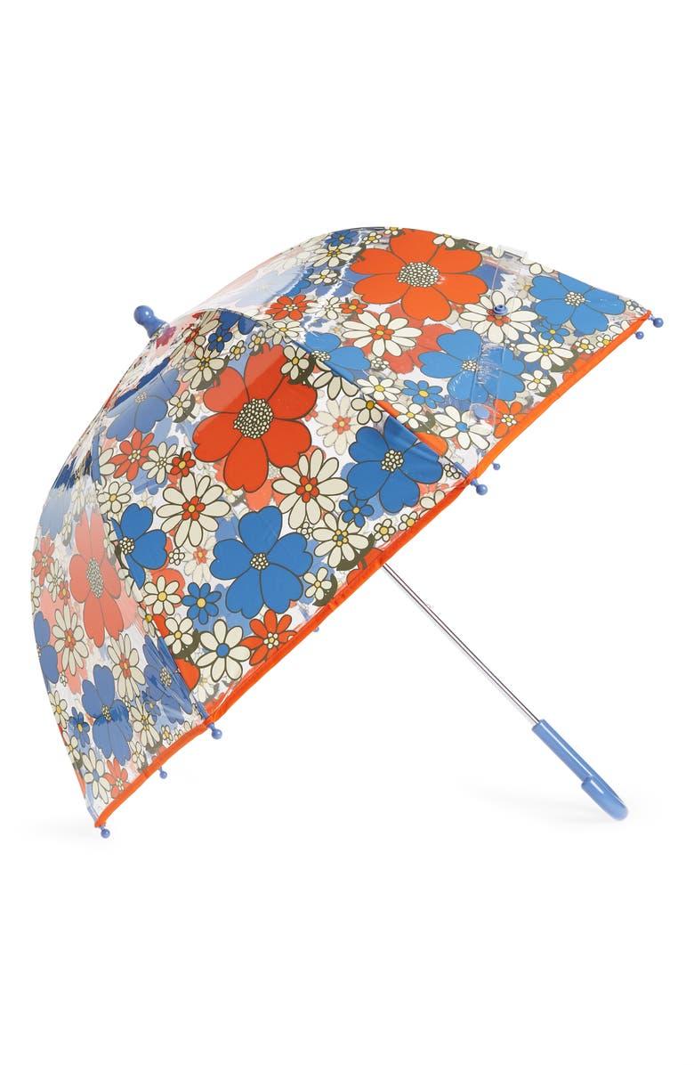 MINI BODEN Print Umbrella, Main, color, MINI JUMBO SIXTIES FLORAL MUL