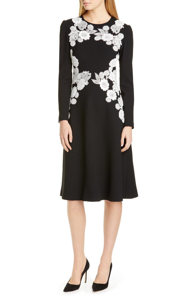 LELA ROSE Lace Detail Long Sleeve Midi Dress, Main, color, 004