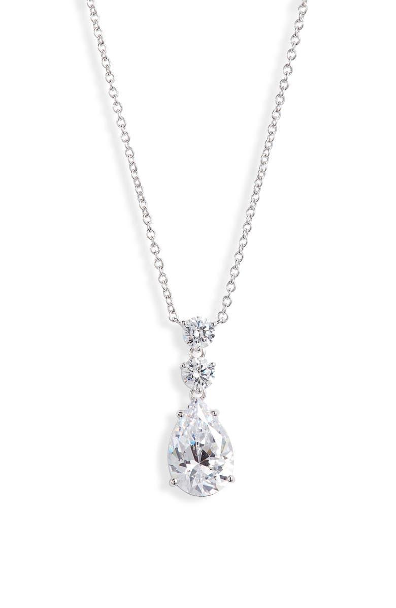 NADRI Everlasting Small Pendant Necklace, Main, color, RHODIUM