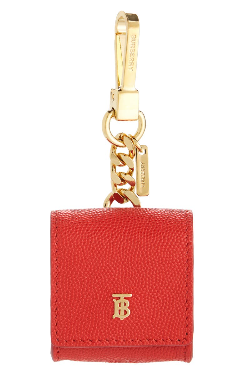 BURBERRY Leather Earbud Case, Main, color, BRIGHT RED