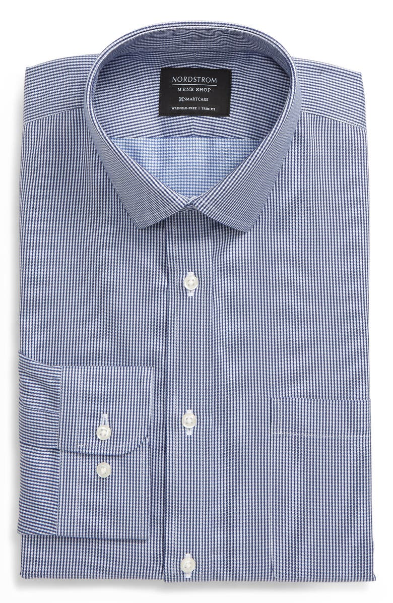 NORDSTROM MEN'S SHOP Smartcare<sup>™</sup> Trim Fit Houndstooth Dress Shirt, Main, color, BLUE DEPTHS