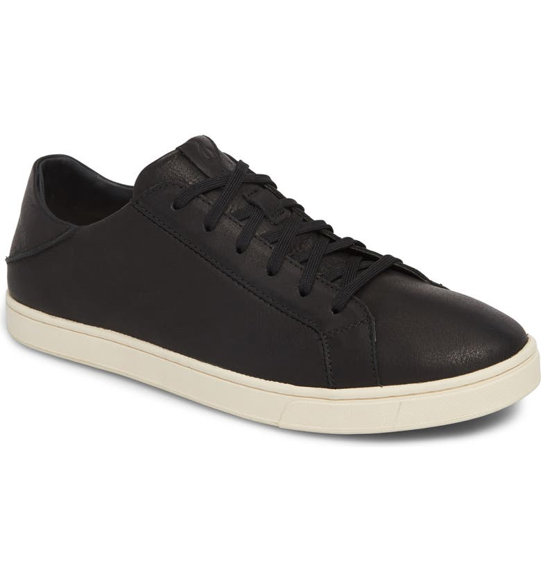 OLUKAI Kahu Pahana Sneaker, Main, color, BLACK/ BONE LEATHER
