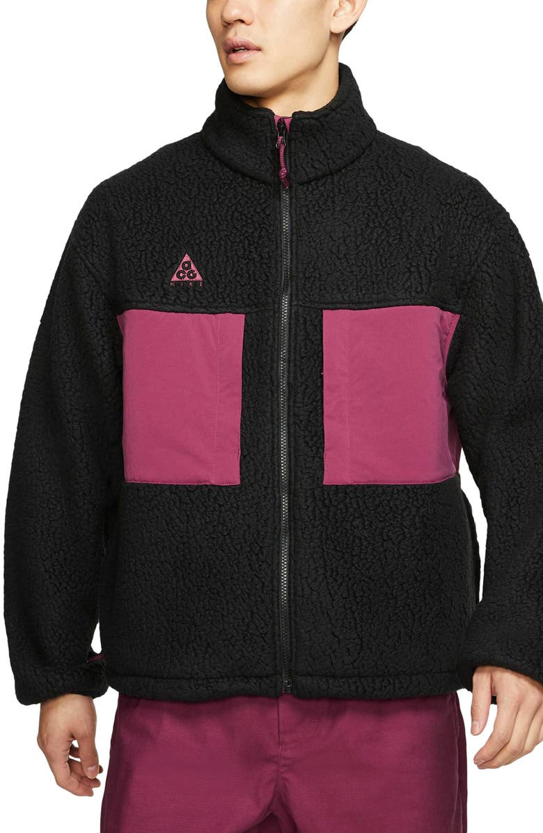 NIKE ACG Men's Fleece Jacket, Main, color, BLACK/ VILLAIN RED