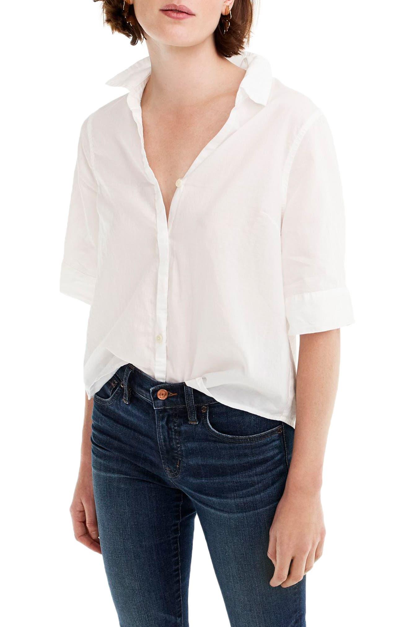 Short Sleeve Button-Up Shirt, Main, color, 100