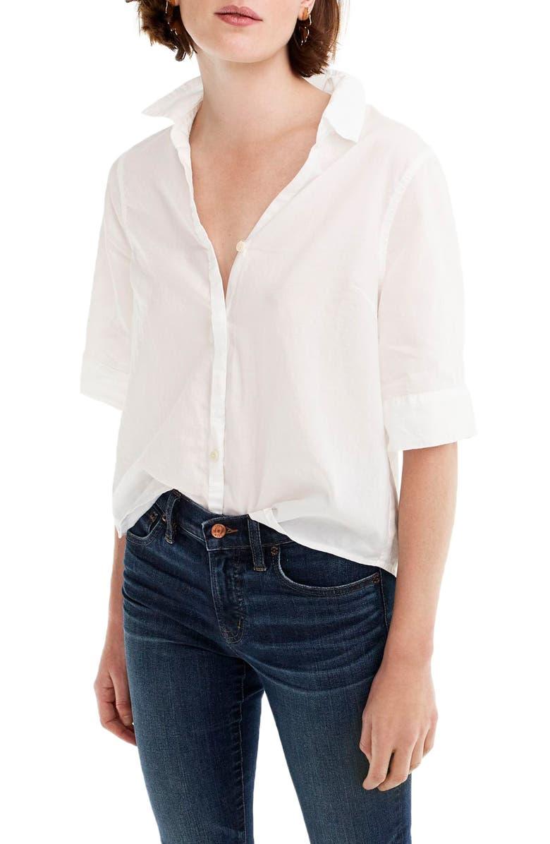 J.CREW Short Sleeve Button-Up Shirt, Main, color, 100