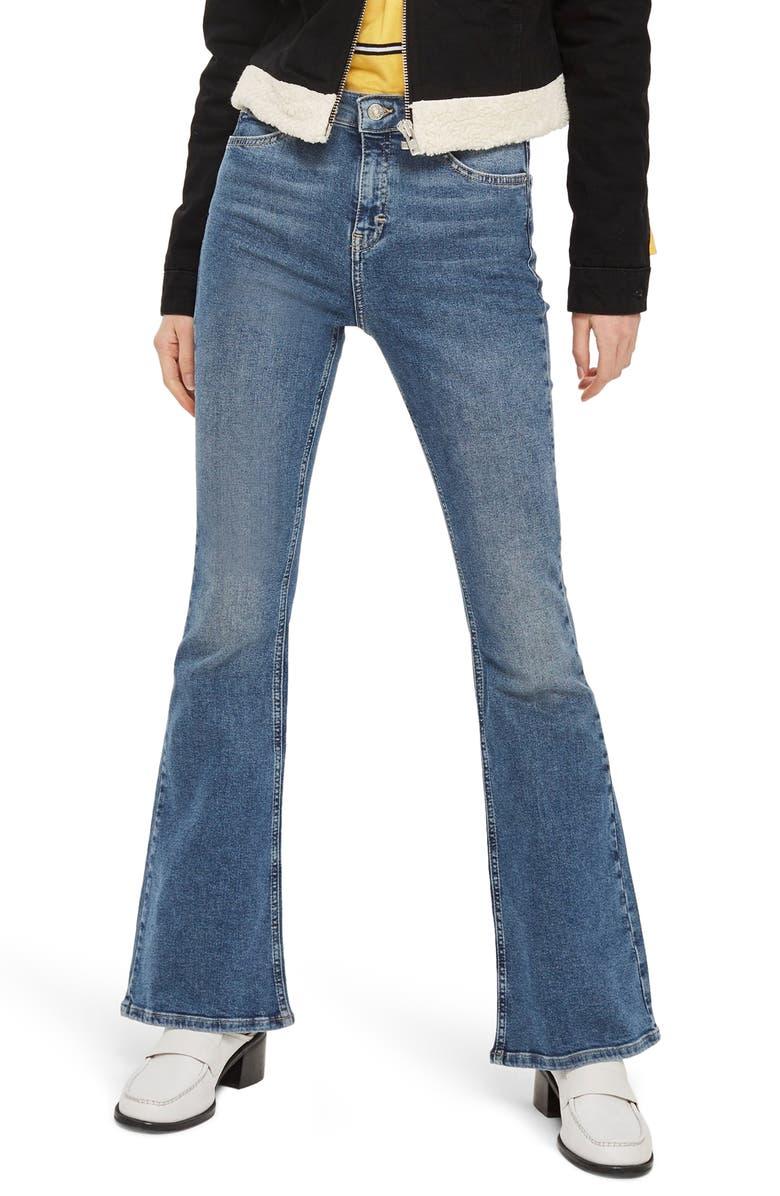 TOPSHOP Jamie High Waist Flare Leg Jeans, Main, color, MID DENIM