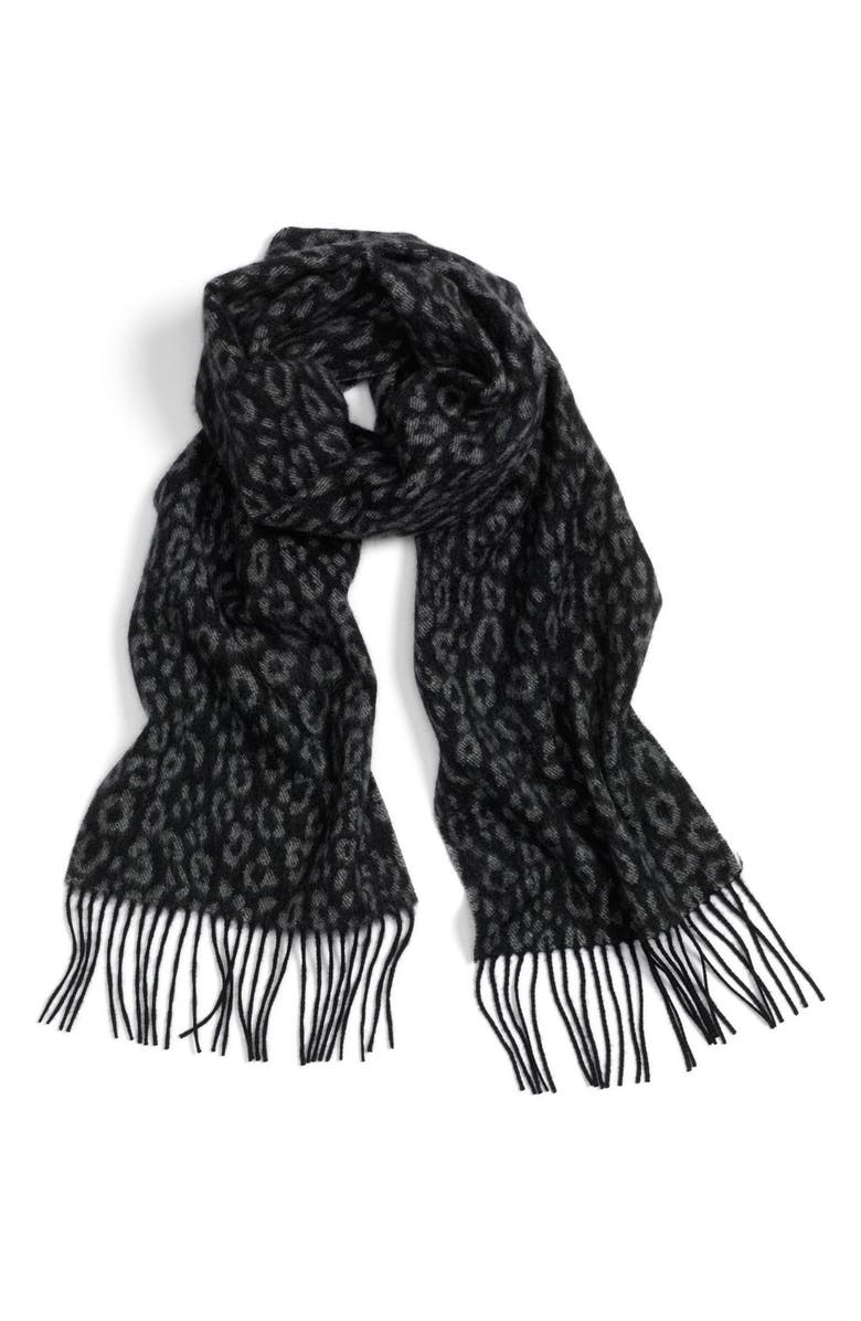 NORDSTROM Animal Woven Cashmere Scarf, Main, color, 001