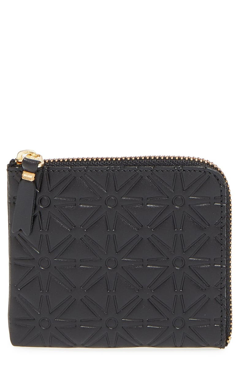 COMME DES GARÇONS Small Embossed Half Zip French Wallet, Main, color, 001