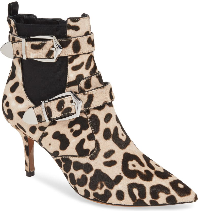 LINEA PAOLO Nikita II Genuine Calf Hair Bootie, Main, color, WHITE BLACK LEOPARD CALF HAIR