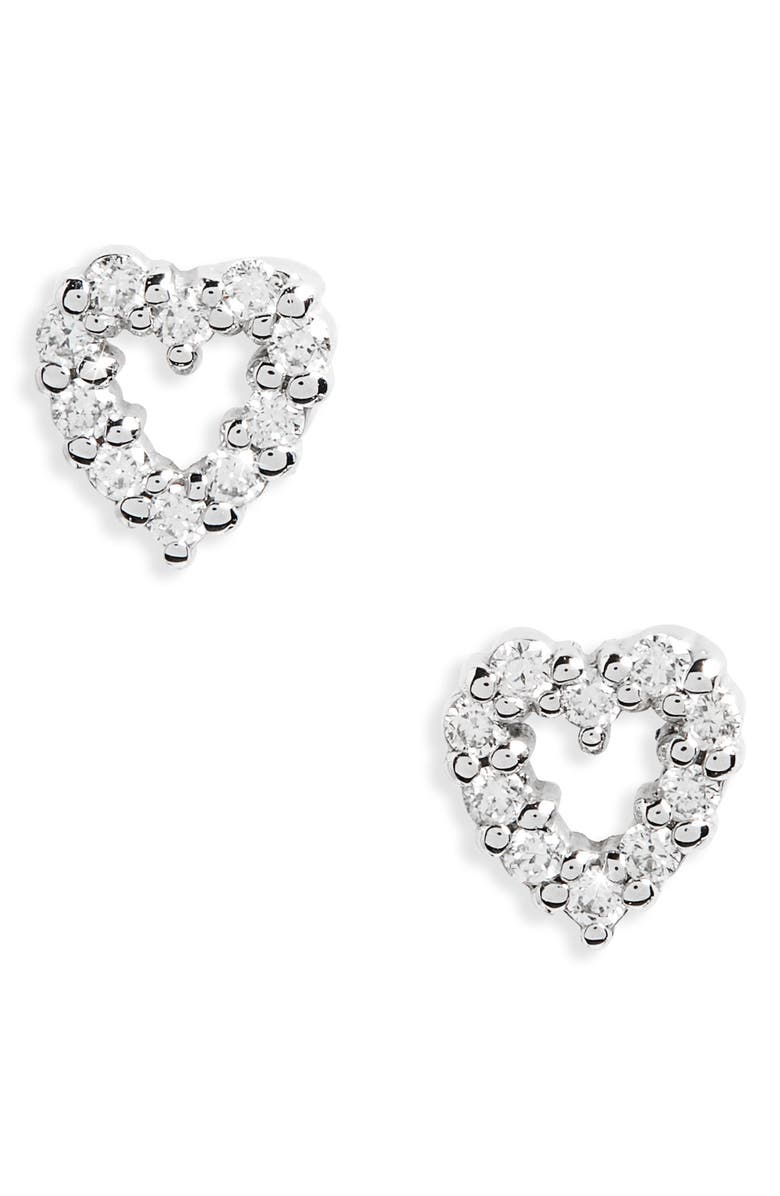 ROBERTO COIN Diamond Heart Earrings, Main, color, WHITE GOLD
