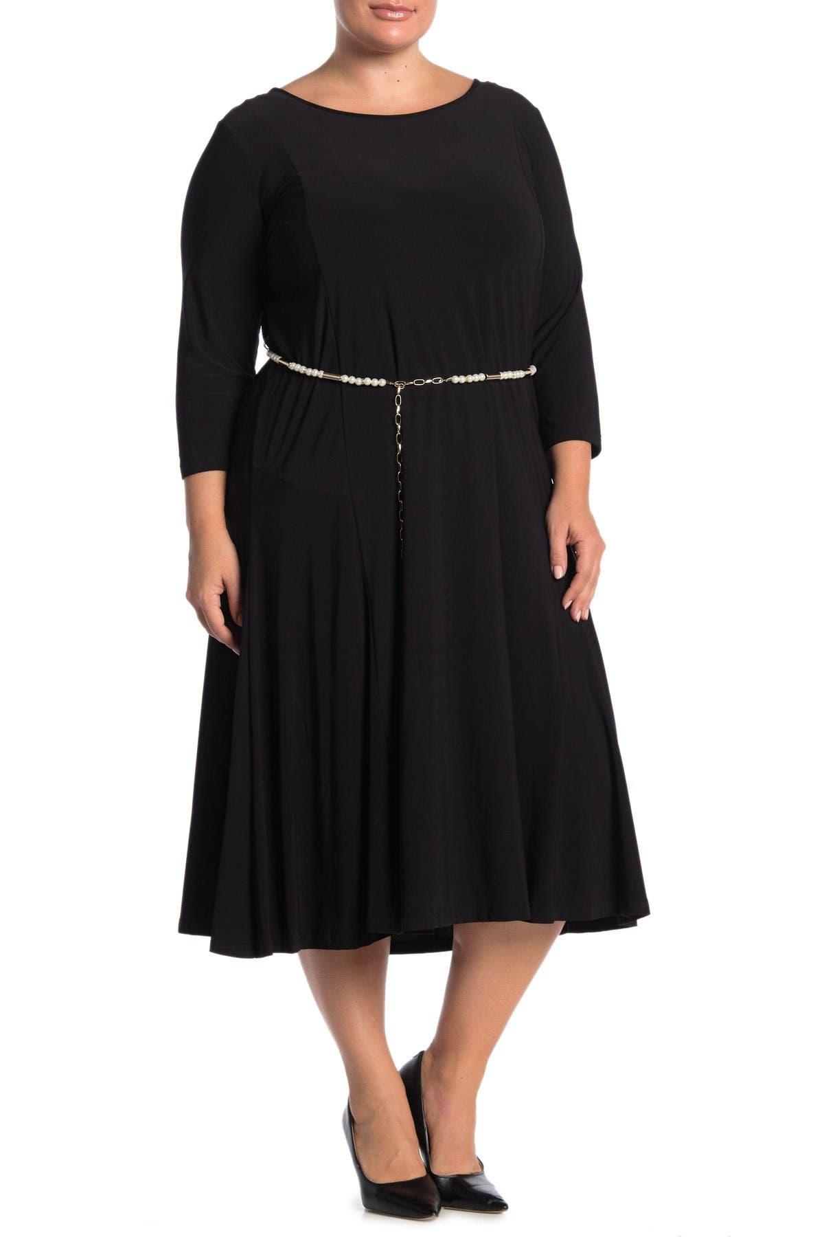 Image of Nina Leonard 3/4 Sleeve Pearl Waist Dress