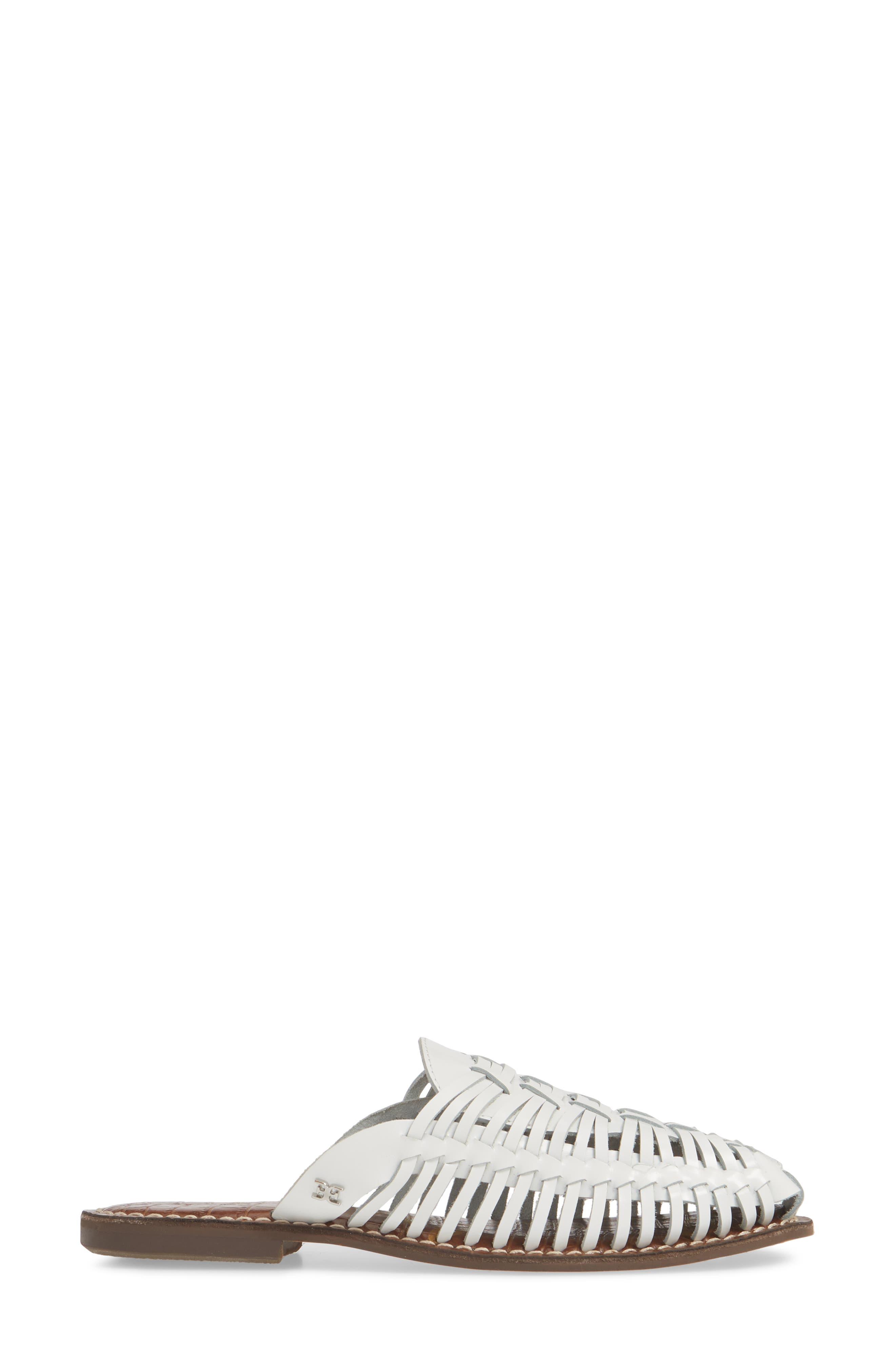 ,                             Keelyn Huarache Mule,                             Alternate thumbnail 3, color,                             BRIGHT WHITE