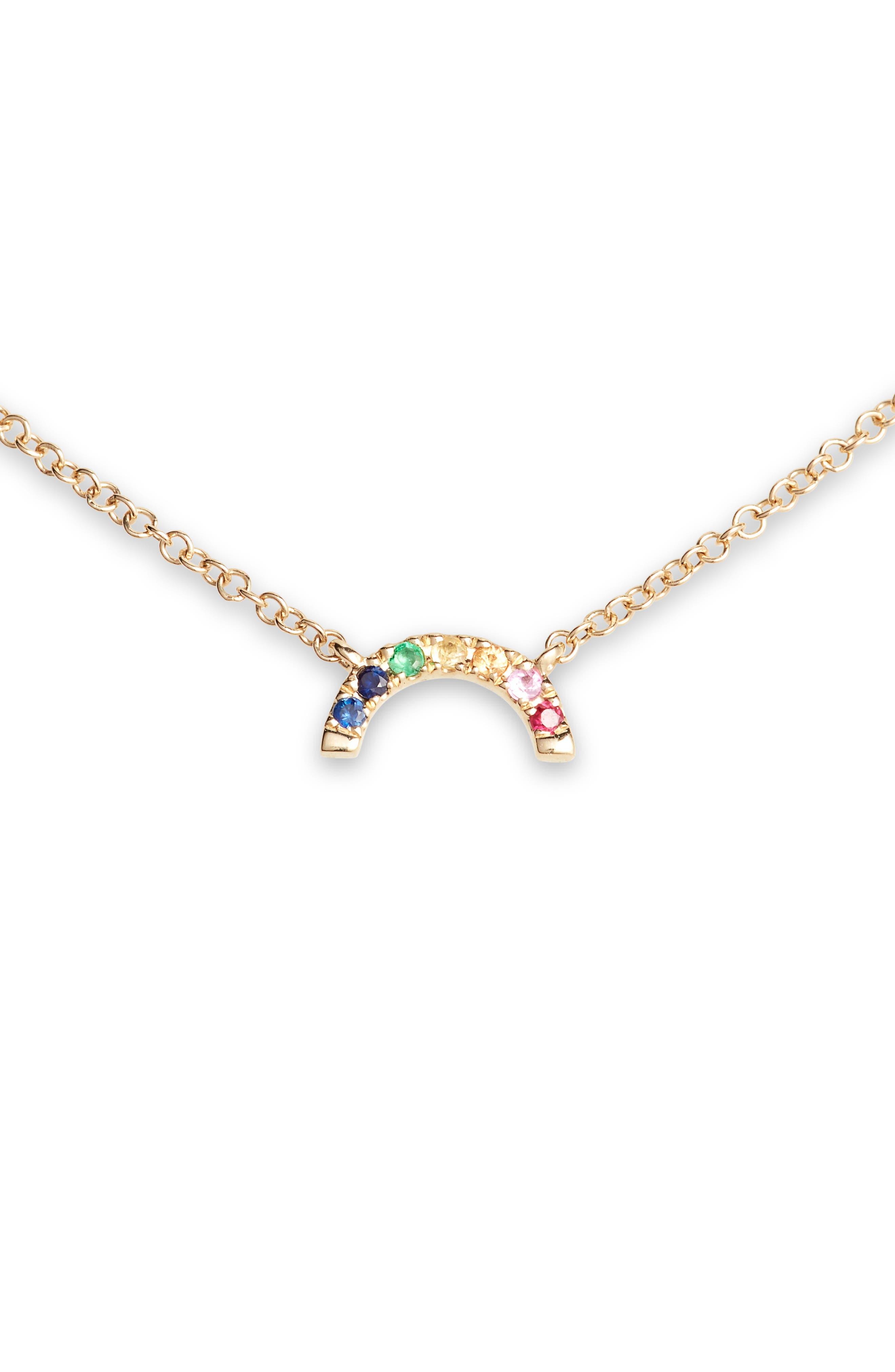 Women's Ef Colllection Rainbow Pendant Necklace