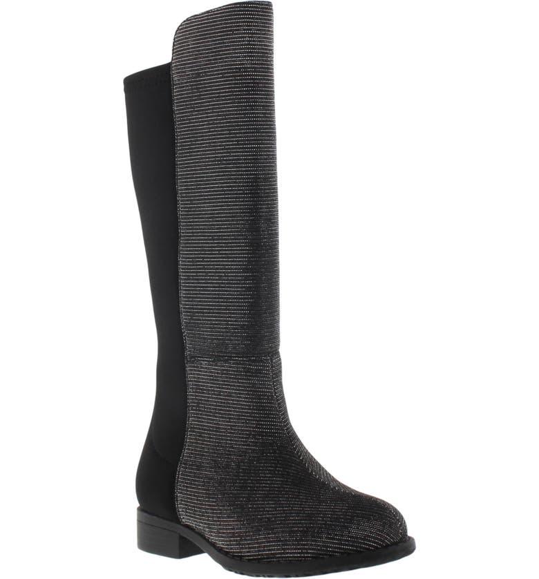 STUART WEITZMAN 5050 Shimmer Riding Boot, Main, color, BLACK NOIR