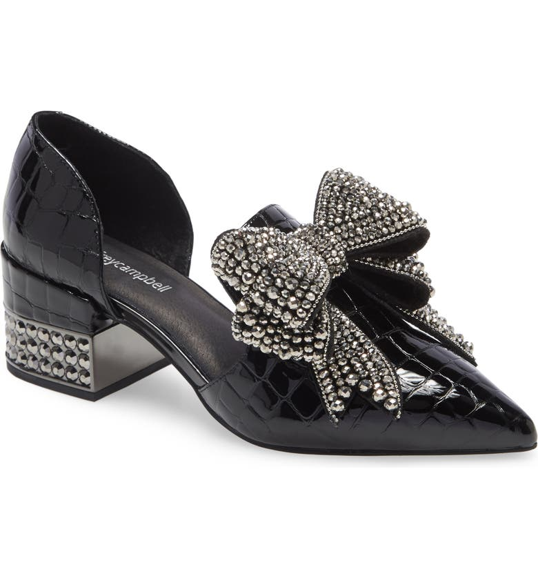 JEFFREY CAMPBELL Valenti Embellished Bow Loafer, Main, color, BLACK STONE PAT PEWTER