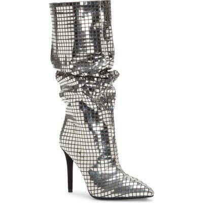 Jessica Simpson Leonelle Metallic Pointy Toe Knee High Boot, Black