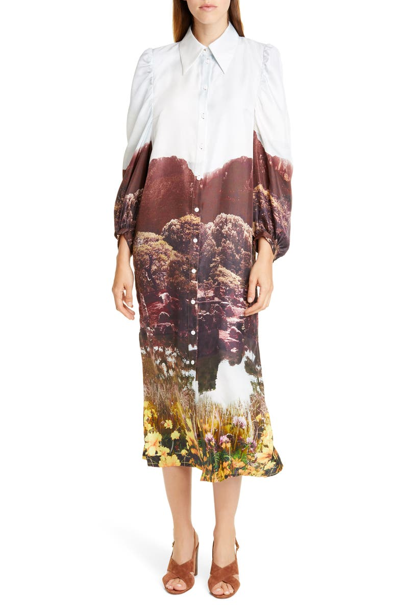 BAUM UND PFERDGARTEN Amira Graphic Midi Silk Shirtdress, Main, color, FAIRYLAND