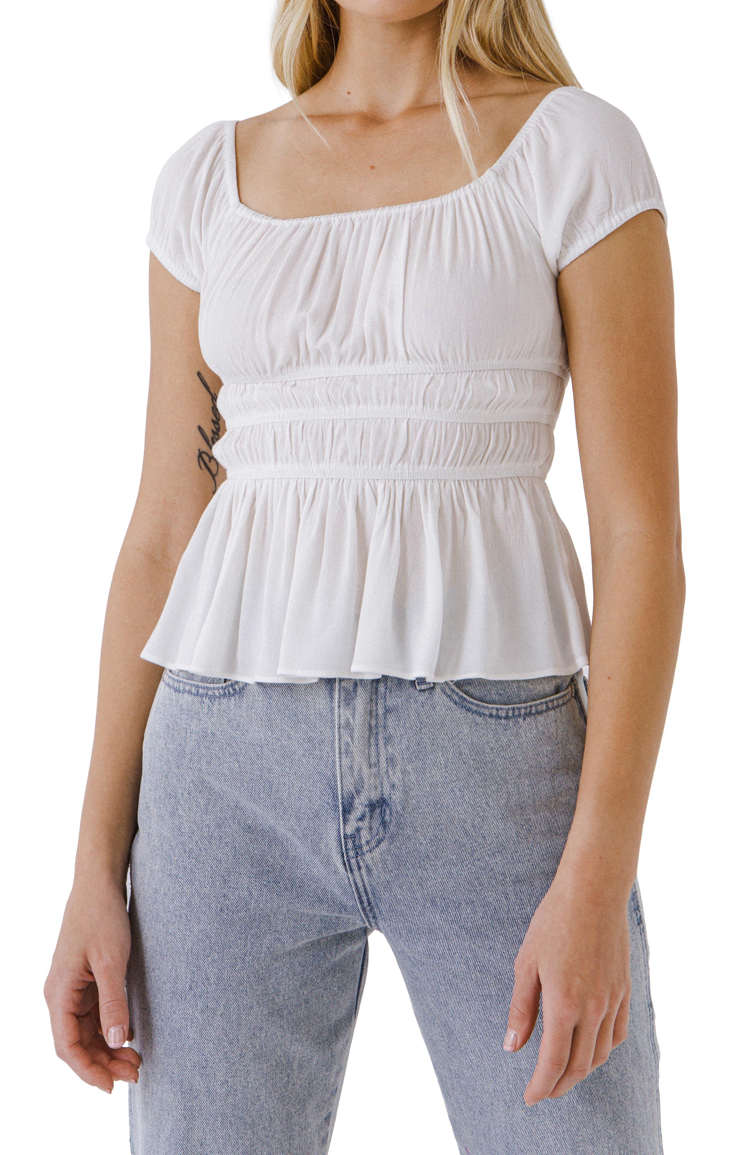 Shirred Knit Peplum Top