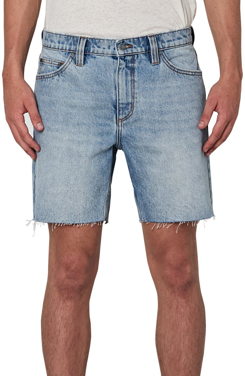ROLLA'S Rollas Relaxo Cutoff Denim Shorts, Main, color, TRUSTY BLUE
