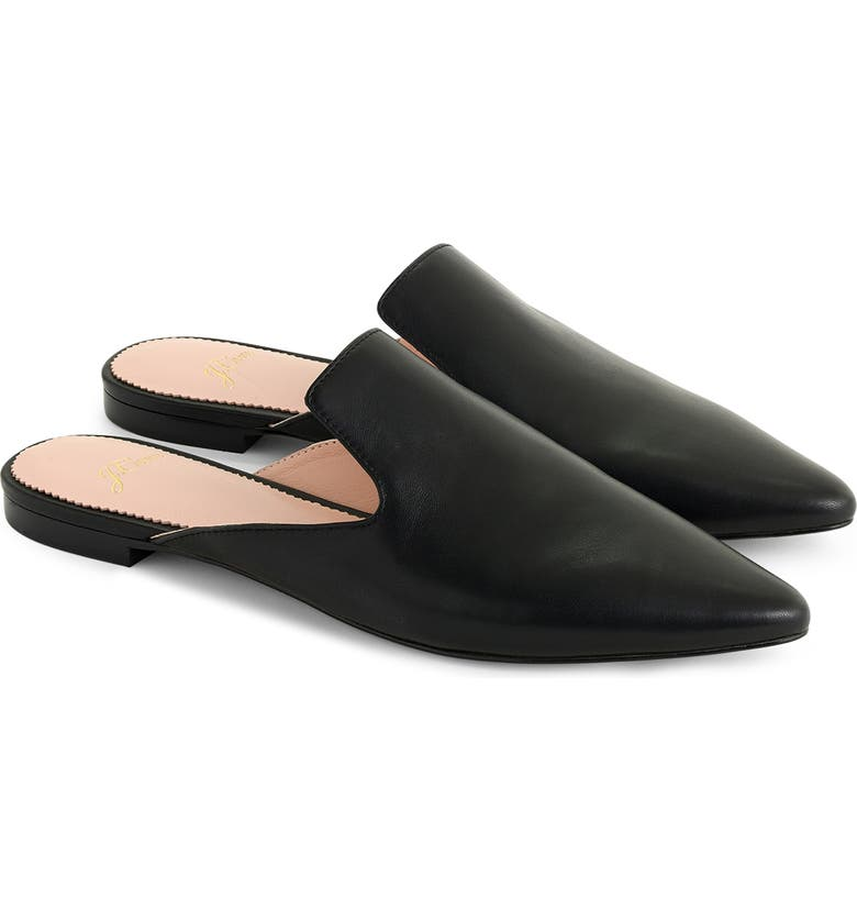 J.CREW Pointed Toe Mule, Main, color, BLACK LEATHER