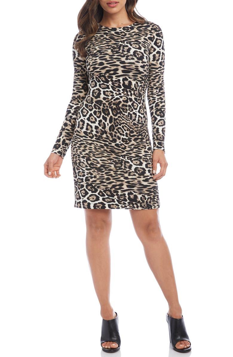 KAREN KANE Leopard Print Sheath Dress, Main, color, LEOPARD